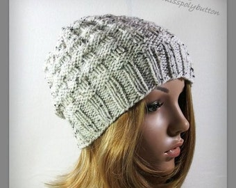 Textured knit beanie - womens hand knit hat - beanie hat - winter accessories