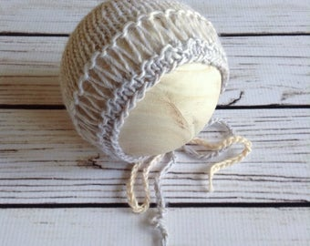 Grey Ombre Bonnet, Knit Bonnet, Drop Stitch Bonnet, Wool Bonnet, Wool Photography Prop, 0 to 3 Month, Baby Bonnet