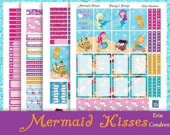 SALE~Mermaid Kisses~Erin Condren Printable Stickers Weekly Kit For The Erin Condren Life Planner