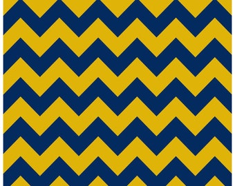 Riley Blake Blue and Gold Chevron Flannel Fabric