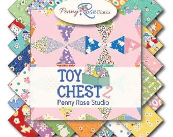 """Riley Blake/Penny Rose Toy Chest 2 Quilt Fabric Collection - 5"""" square stackers, 42 piece assortment"""