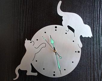 Wall clock cats stainless steel Mural art watch design wall clock of wallclock cats