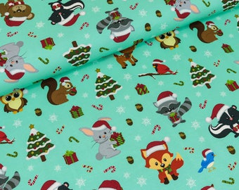 Cotton Jersey forest Christmas mint/colored digital print (17.90 EUR / meter)
