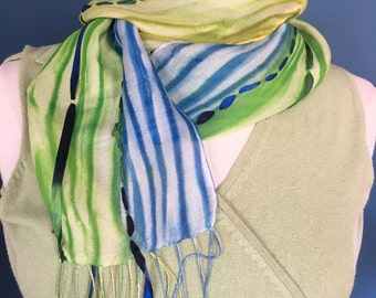 Spring into Summer Silk Gauze and Ribbon Scarf; Summer Scarf; Bright Colored Scarf; Sherbet Colored Scarf; Blue, Green, Yellow Scarf