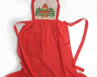 Vintage Christmas apron drummer bear and christmas tree 38 inch long apron, cute red vintage apron christmas tree hollyberry vintage kitchen