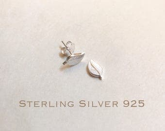 Sterling silver leaves stud earrings, leaves earrings