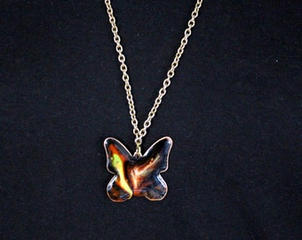 Top Vintage necklace of red copper, glazed, Butterfly * free shipping *