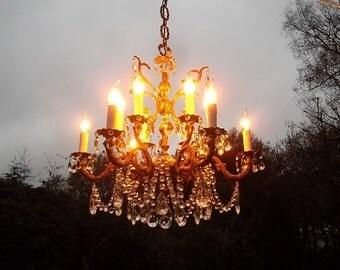 An unusual 6arm 12 light vintage bronze chandelier (Z471)