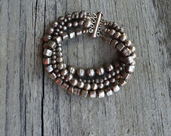 Sterling Silver Four Strand Bead Bracelet
