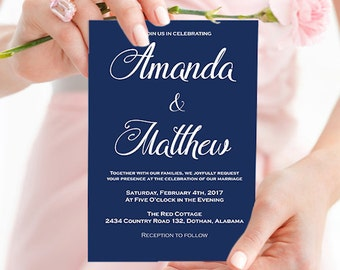 Wedding Invitation Template - Navy Wedding Invitation - Navy Blue Wedding - Wedding Invitation printable - Downloadable Wedding #WDH0169