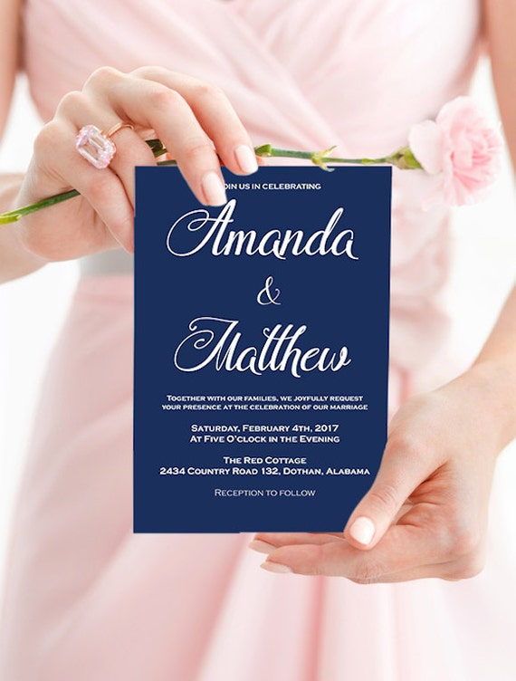 Wedding Invitation Template - Navy Wedding Invitation - Navy Blue Wedding - Wedding Invitation printable - Downloadable Wedding #WDH0169