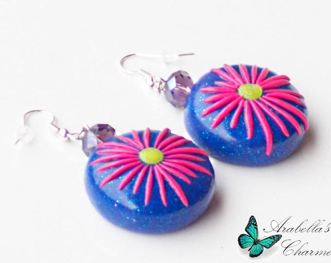 Dangling earrings with plates handmade in polymer paste and fimo with flowers