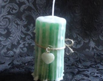 Sandalwood Spell or Ritual Candle with Pale Rose Quartz Crystal Heart Charm