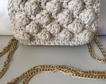 Handmade Crochet Bag, Crochet Clutch, Crochet Handbag, Crochet Bobble Bag, Small Bobble Bag