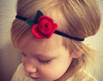 Red rosette flower headband - flower headband - rose headband