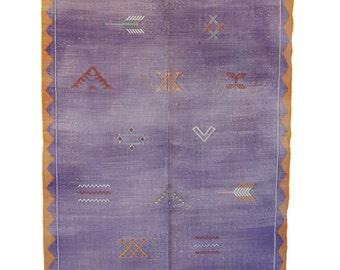 "CACTUS SILK, 4'5"" x 7'9"" Cactus Silk Kilim Rug, Kilim, Sabra, Moroccan Kilim."