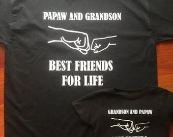 Customizable: Papaw and Grandson Best Friends 3 Shirt Set