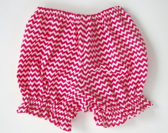 Diaper Cover Baby Bloomers Pink and White Chevron Baby Bloomers