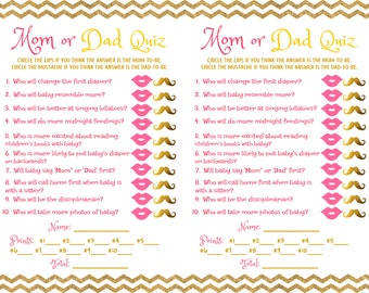 Baby Shower Game Mom Dad Quiz Pink Gold