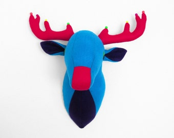Stefano the Stag faux taxidermy fabric deer head stuffed animal head reindeer stags head mature