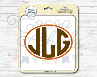 Oval Monogram / / SVG Cutting Files / svg, dxf, studio3, eps, pdf, png / Digital file / Cuttable file / Silhouette files / Cricut Files