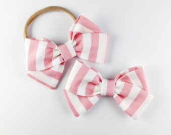 Light Pink Stripe - Baby Girl, Toddler, Girls Fabric Bow Headband or Hair Clip, Nylon Baby Headband, Spring Bow