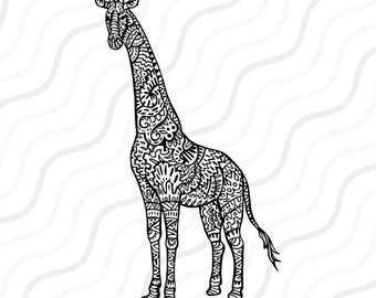 Ethnic Giraffe SVG, Zentangle Giraffe SVG, Giraffe SVG Cut table Design,svg,dxf,png Use With Silhouette Studio & Cricut_Instant Download