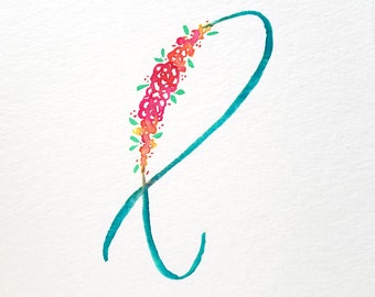 Custom Floral Watercolor Letter   Floral Initial   Watercolor Initial   Floral Monogram   Watercolor Letter   Watercolor Monogram