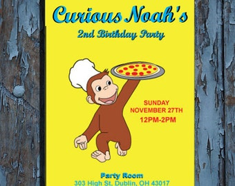 Curious George Birthday Invitation, Curious George Invitation, Curious George Birthday, Curious George Party,