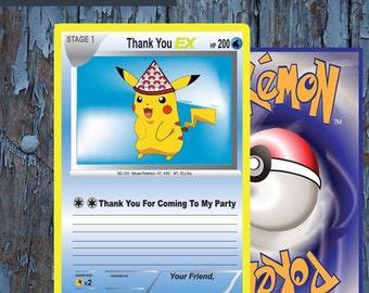 Pokemon, thank you card, Pokemon thank you, Pokemon birthday, Pokemon card,  Pokemon Party, Pokemon go, Pikachu, Pokemon Printables