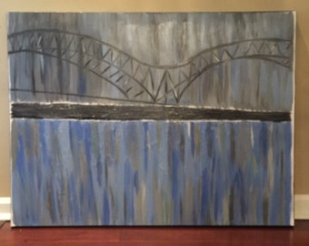 Memphis bridge over Mississippi River on Canvas