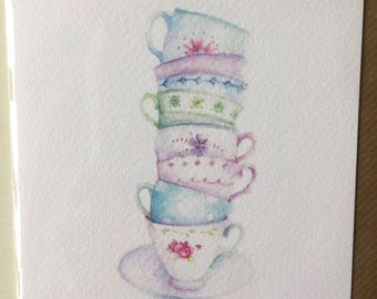 Pile of Tea Cups taken from an Original Watercolour / Notelets / Birthday Cards / Thank You Cards / Blank Cards