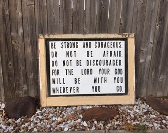 Joshua 1 : 9 vintage window sign