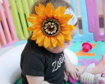 Studed sunflower white lace headband