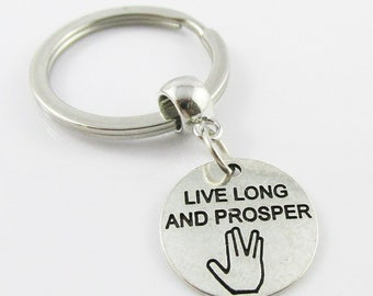 Star Trek Inspired Live Long and Prosper Charm Bag Tag Stainless Steel Keyring (C2675/KCF014)