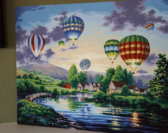 Hot air balloon festival, hand-painted paint by number
