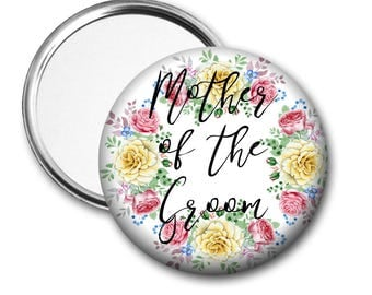 Yellow Rose Mother of the Groom 58 mm 2.5 inch Pocket Mirror