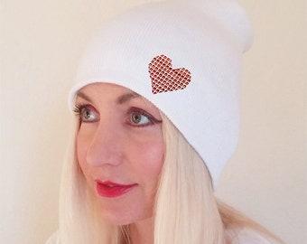 White Beannie Red Heart, Beannie with Heart, Beanie for Women, Beanie for Men, Blank Beanie, Winter Beanie, Beeanie, Beannie, White Hat