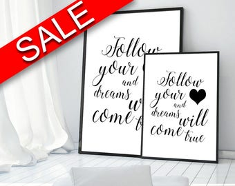 Wall Art Follow Your Heart Digital Print Follow Your Heart Poster Art Follow Your Heart Wall Art Print Follow Your Heart Typography Art love