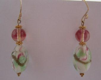 Vintage Japanese Art Glass Beads 1940s, German givre glass beads 1950s, 14k GF handmade ear wires