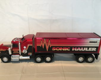 Vintage BUDDY L 1993 Semi Tractor Trailer Kenworth SONIC HAULER with 1983 Trailer, Pressed Steel Toy Vehicle
