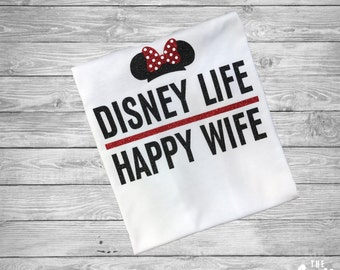 Disney Life Happy Wife made with (ALL) Glitter shirt - Minnie Mouse - Ladies