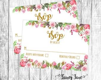 Wedding Invitation, Floral Wedding Invitation, Customized Wedding RSVP, Customized Invitation, Printable Wedding Invitation, Wedding RSVP