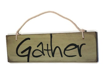 Gather Sign, Hanging Wood Sign, Mint Green Decor, Gather Decor, Kitchen Sign, Dining Room Decor, Green Kitchen Decor, Rustic Word Art