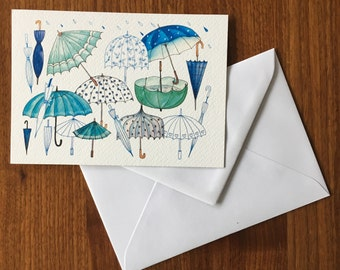 Umbrellas-greeting card illustration by Anke van Horne-blank rear-includes envelope