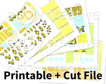 Sale - 25% Off! Duck Theme - Weekly Sticker Kit Printable for Erin Condren Horizontal - HWK-042 - INSTANT DOWNLOAD