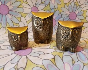 Vintage brass owls (3)