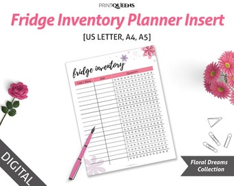 Fridge Inventory Printable, Fridge Inventory Tracker, Fridge Inventory Checklist, Fridge Inventory PDF, a5 planner pages, A5, A4, US Letter