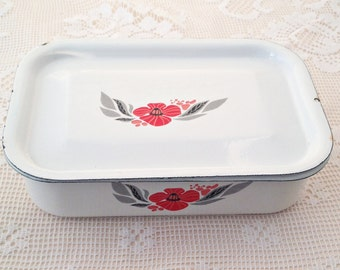 Vintage Enamel Container With Lid, Enamelware, White Enamel, Enamel Box, Food Container, USSR, Food Storage, Soviet Vintage, Soviet Enamel