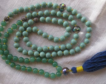 Green aventurine and Swarovski crystal mala necklace with tassel